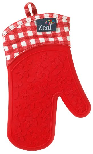 Zeal Single Gingham Oven Glove in Red