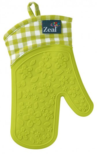 Zeal Single Gingham Oven Glove in Lime