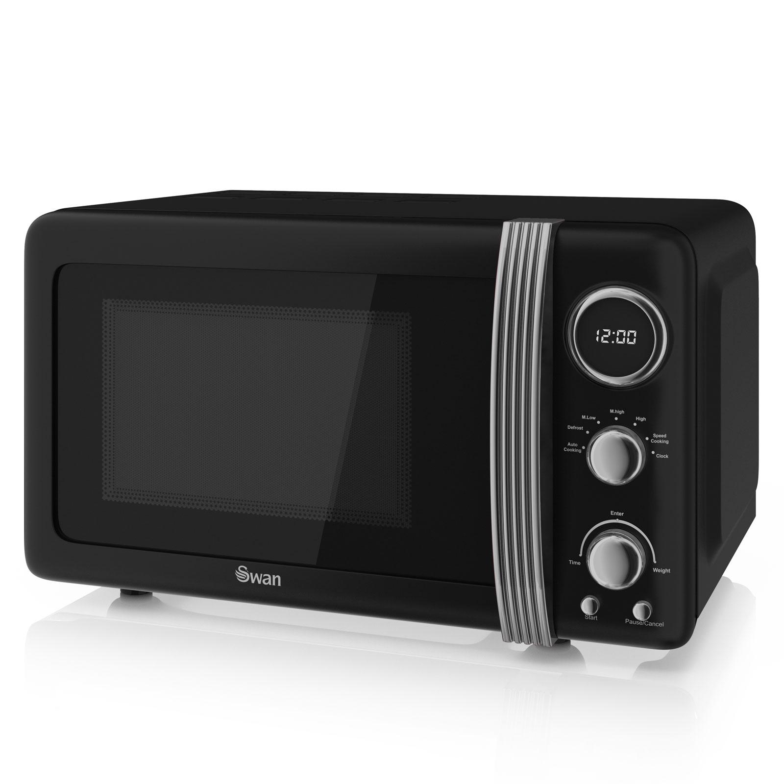 Swan Black Retro Set Digital Microwave