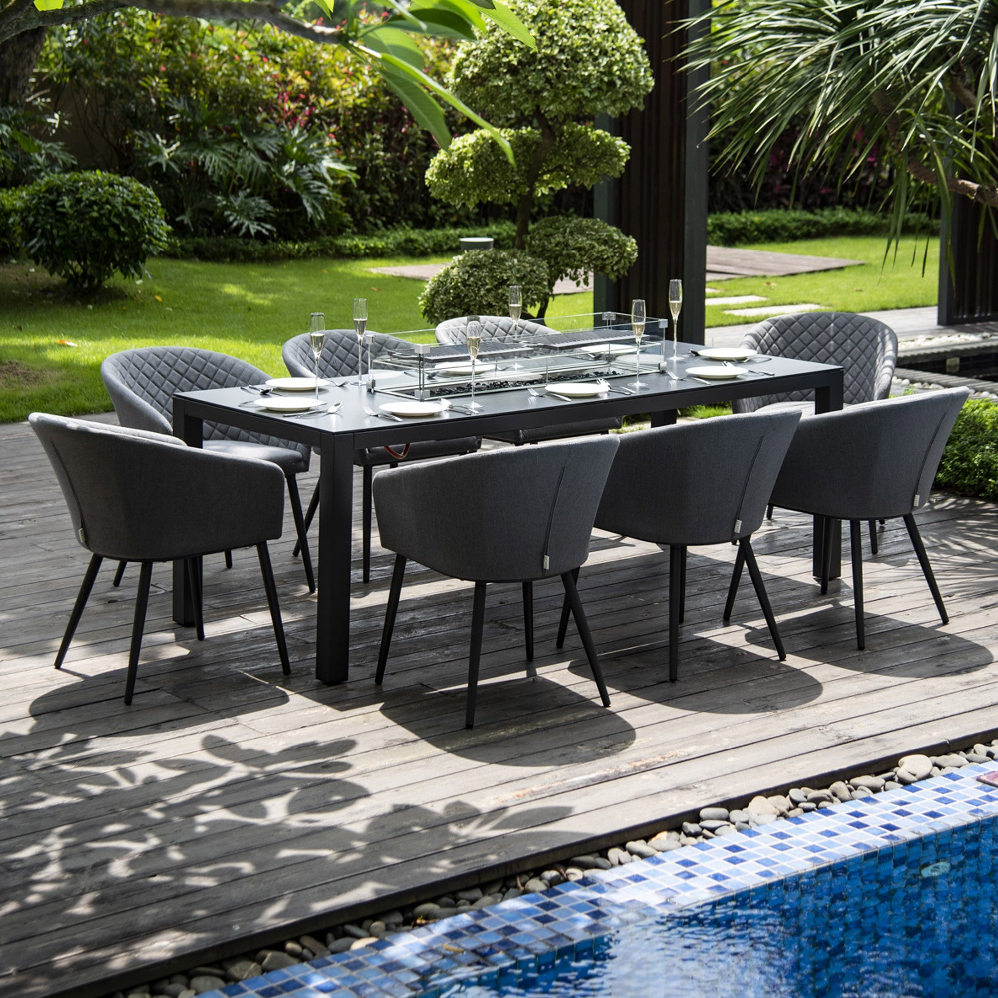 Maze Rattan Ibiza 8 Seater Fabric Garden Dining Set With Fire Pit