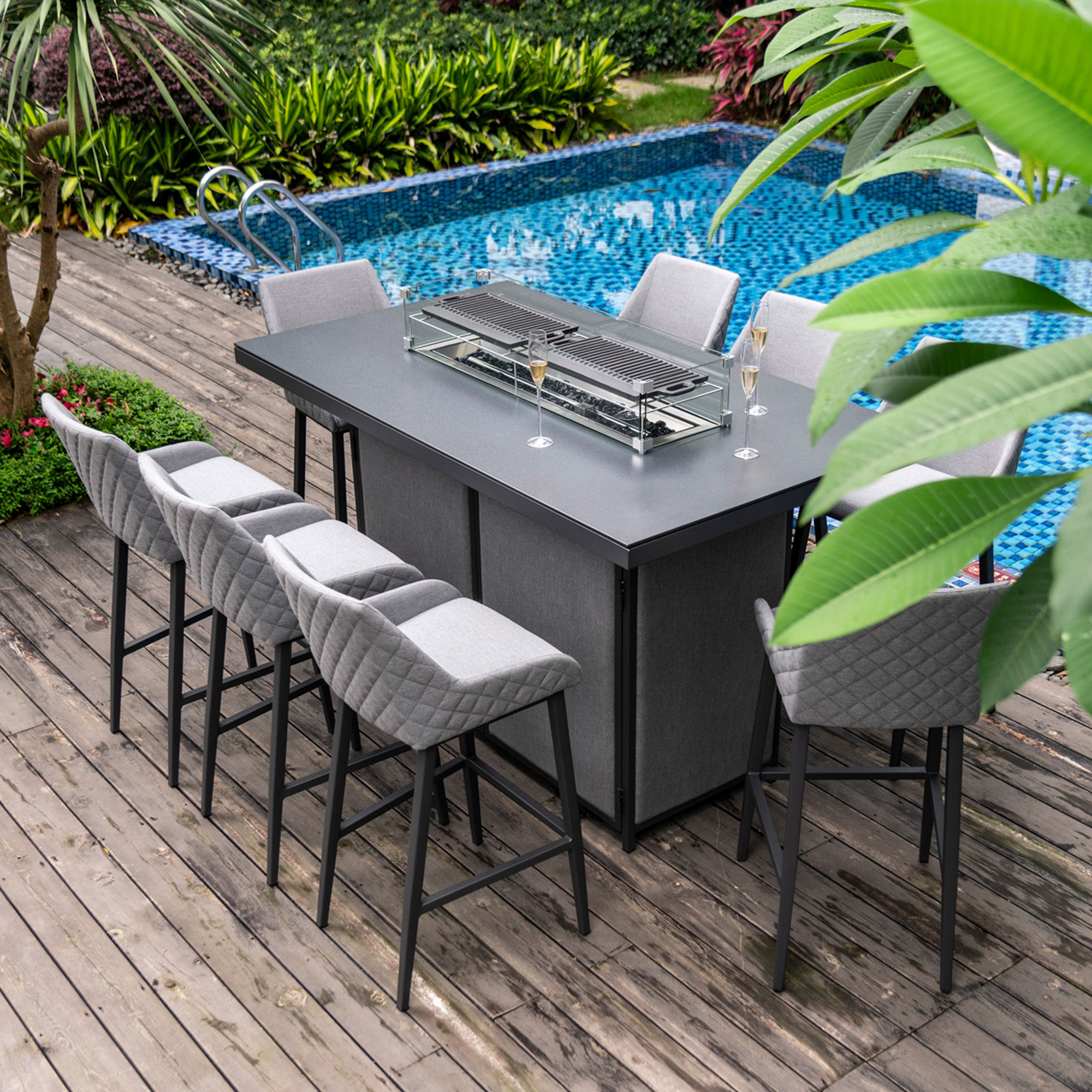 Image of: Maze Rattan Ibiza 8 Seater Fabric Garden Bar Set With Fire Pit