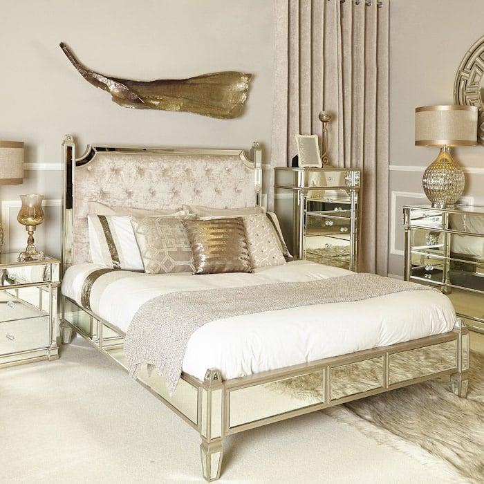Versailles Champagne Mirror Finish, Gold Mirrored Furniture Uk
