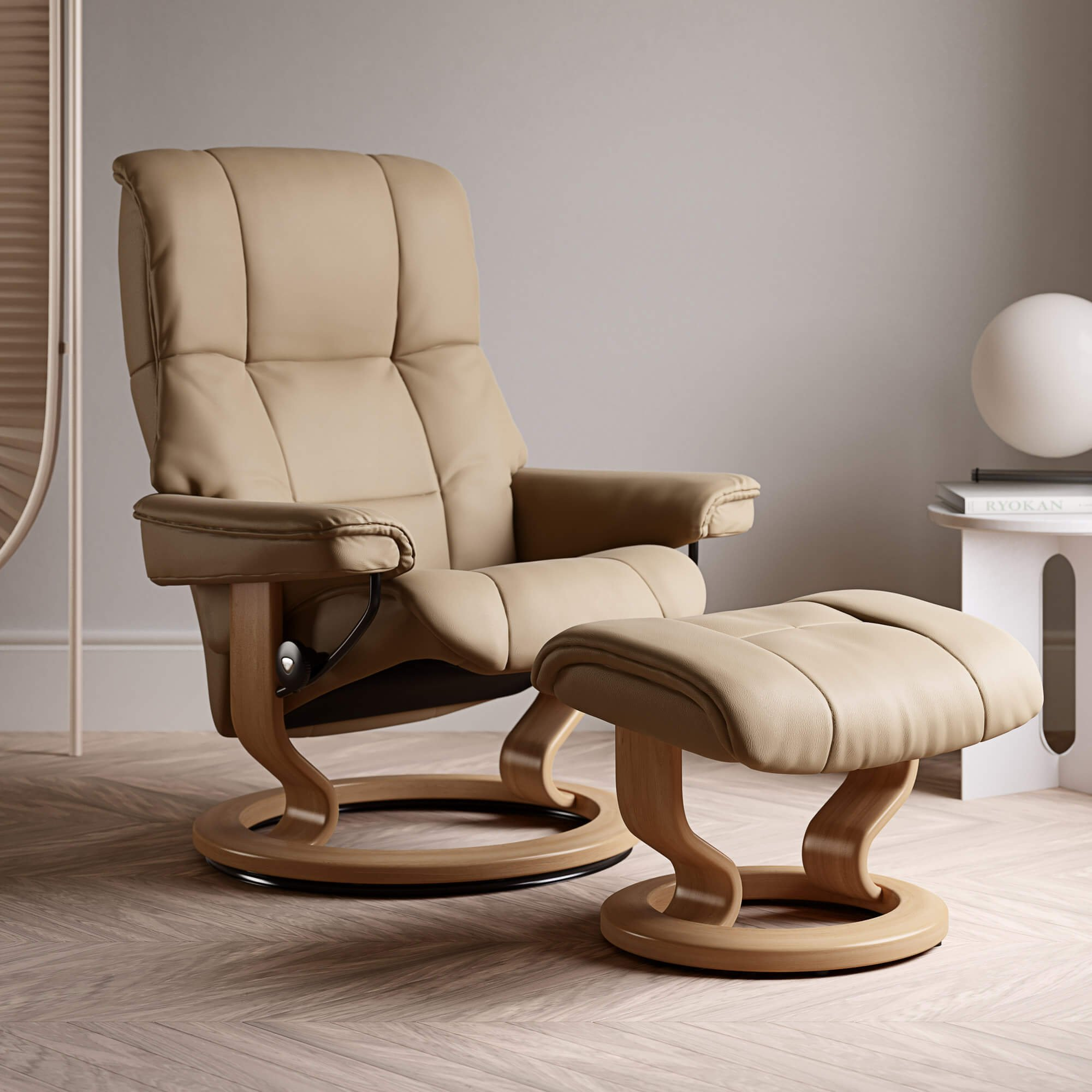 Stressless Mayfair Medium Recliner Chair & Stool With Classic Base in Paloma Sand & Oak