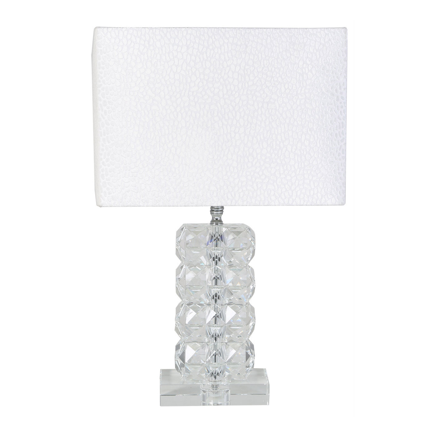 Picture of: Ivanca Small Crystal Table Lamp With White Snakeskin Shade