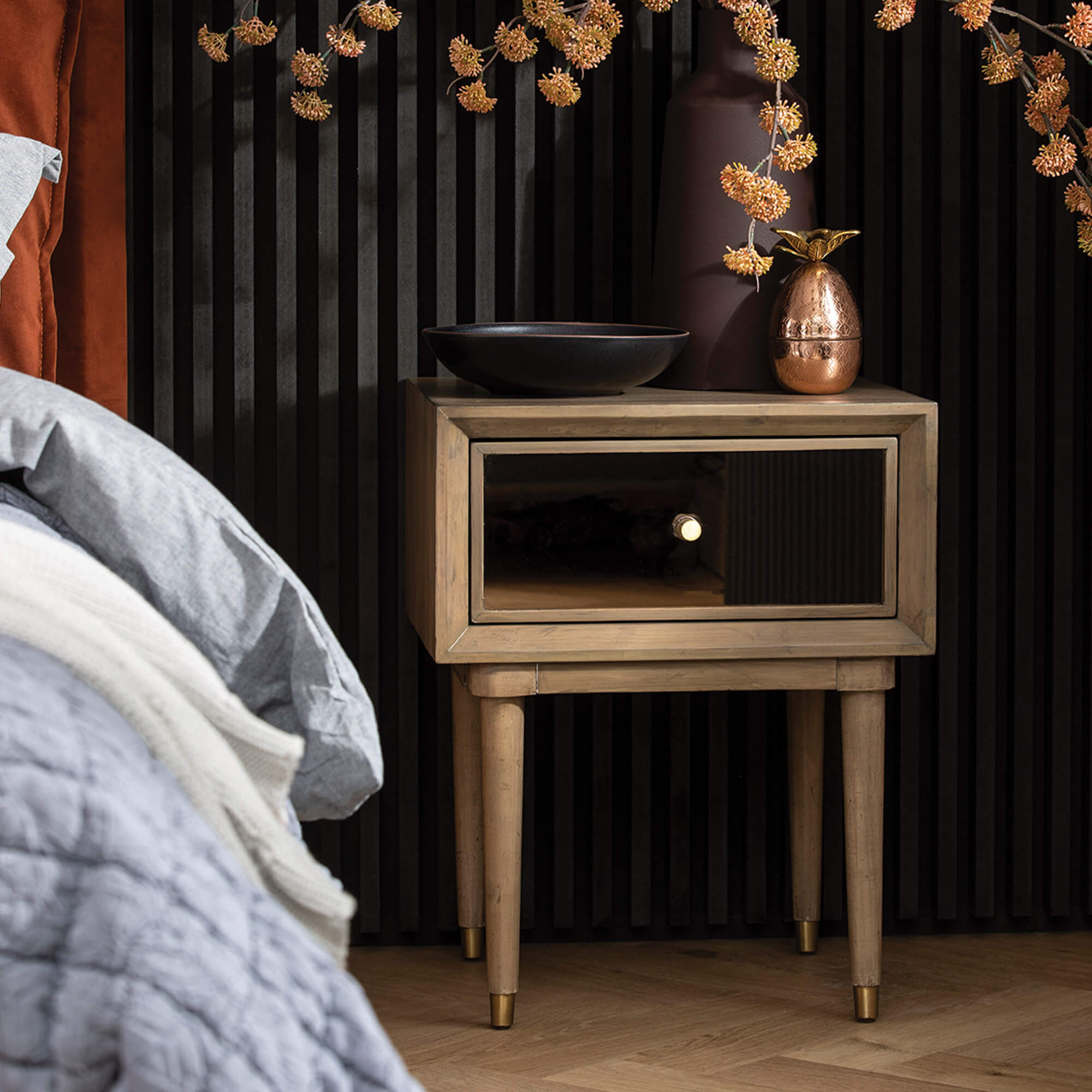 Francesca Reclaimed Wood Rose Gold Mirrored 1 Drawer Bedside Table