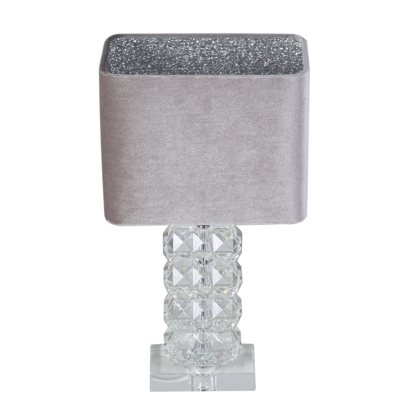 Picture of: Ivanca Small Crystal Table Lamp With Silver Grey Glitter Shade