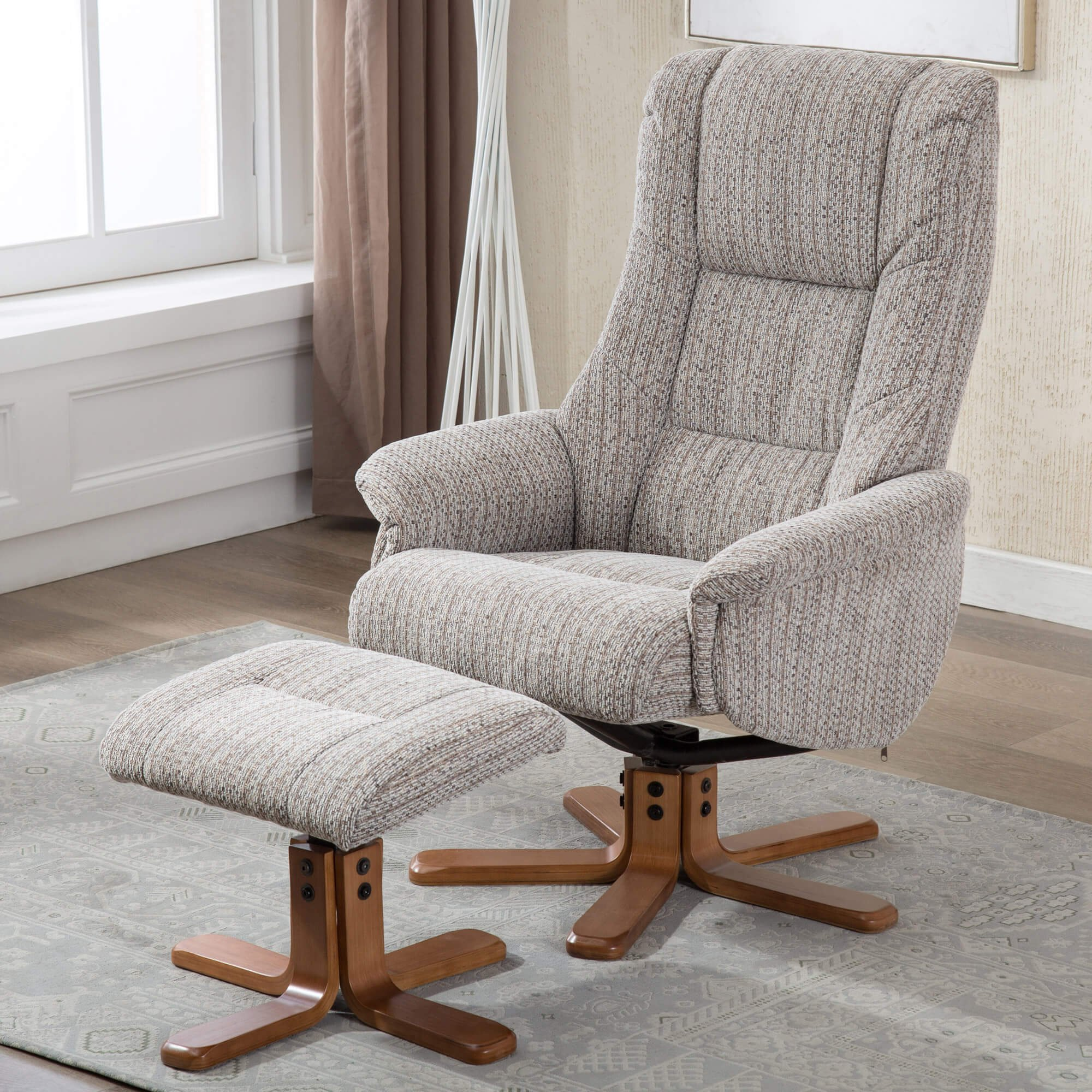 Picture of: Madrid Fabric Swivel Recliner Chair Footstool
