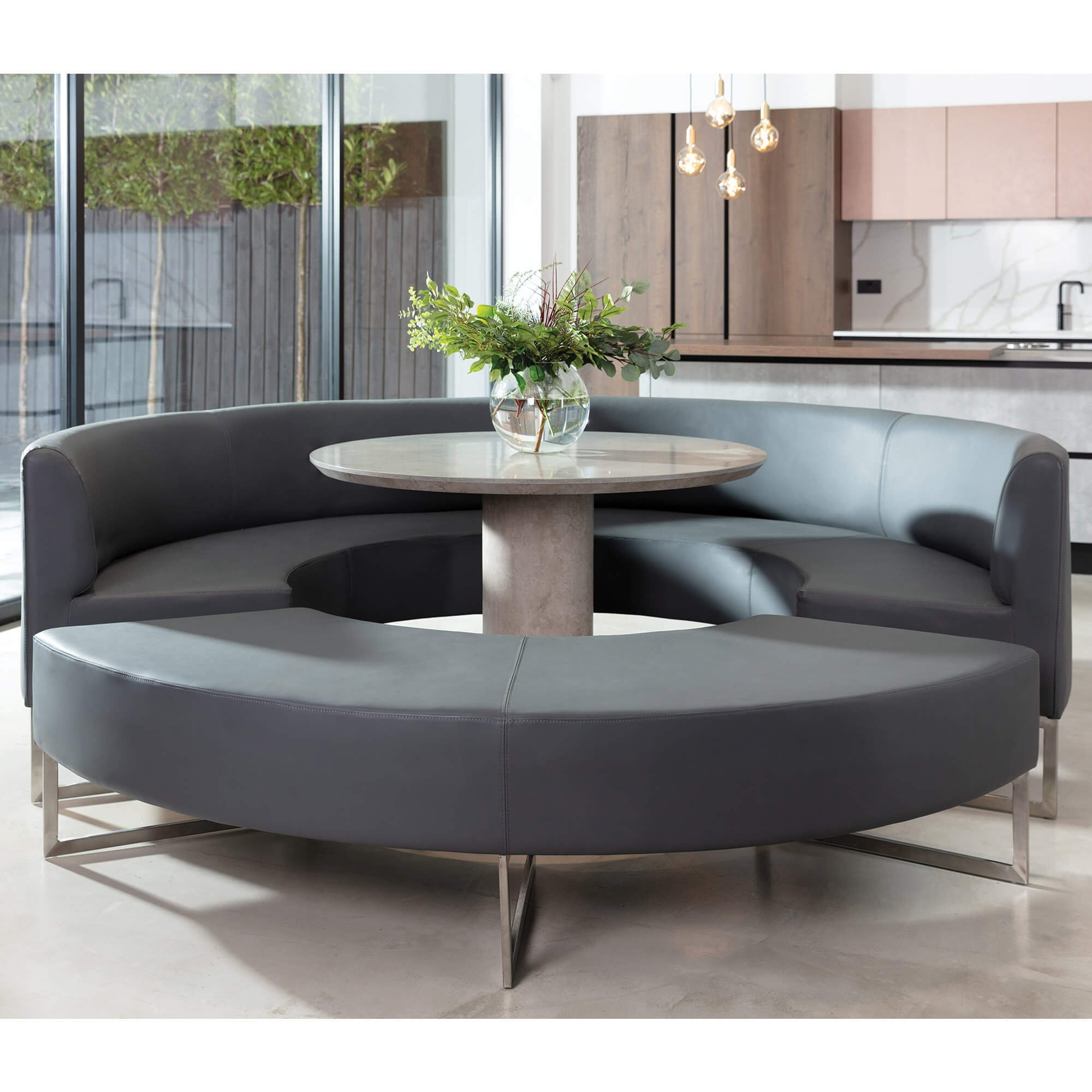 Zurich Grey Faux Leather Round Dining Bench, Dining Room Table With Leather Bench