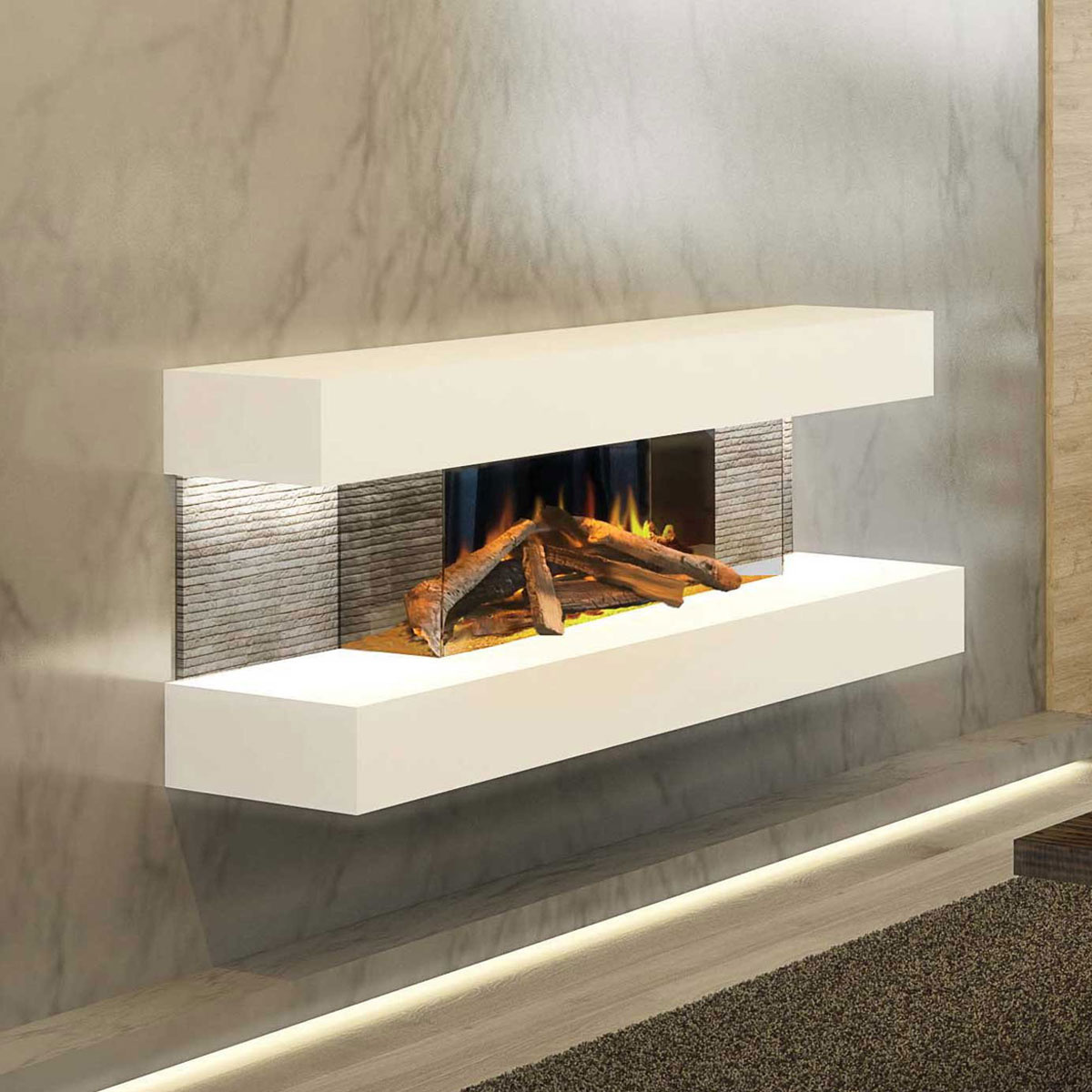 Evonic Fires Compton 2 Wall Hanging Electric Fire Suite