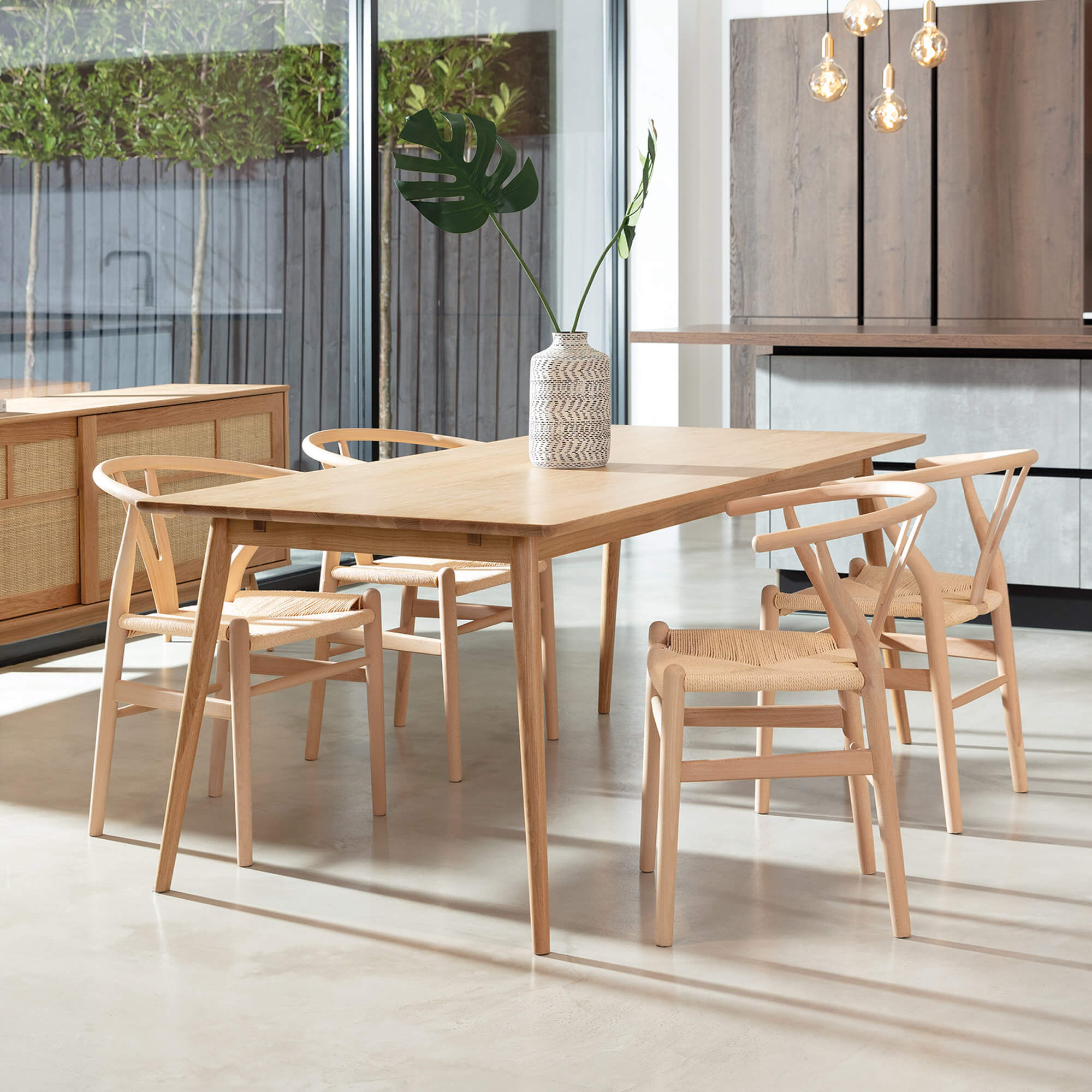 Larvik White Oak 9cm Dining Table & 9 Chairs