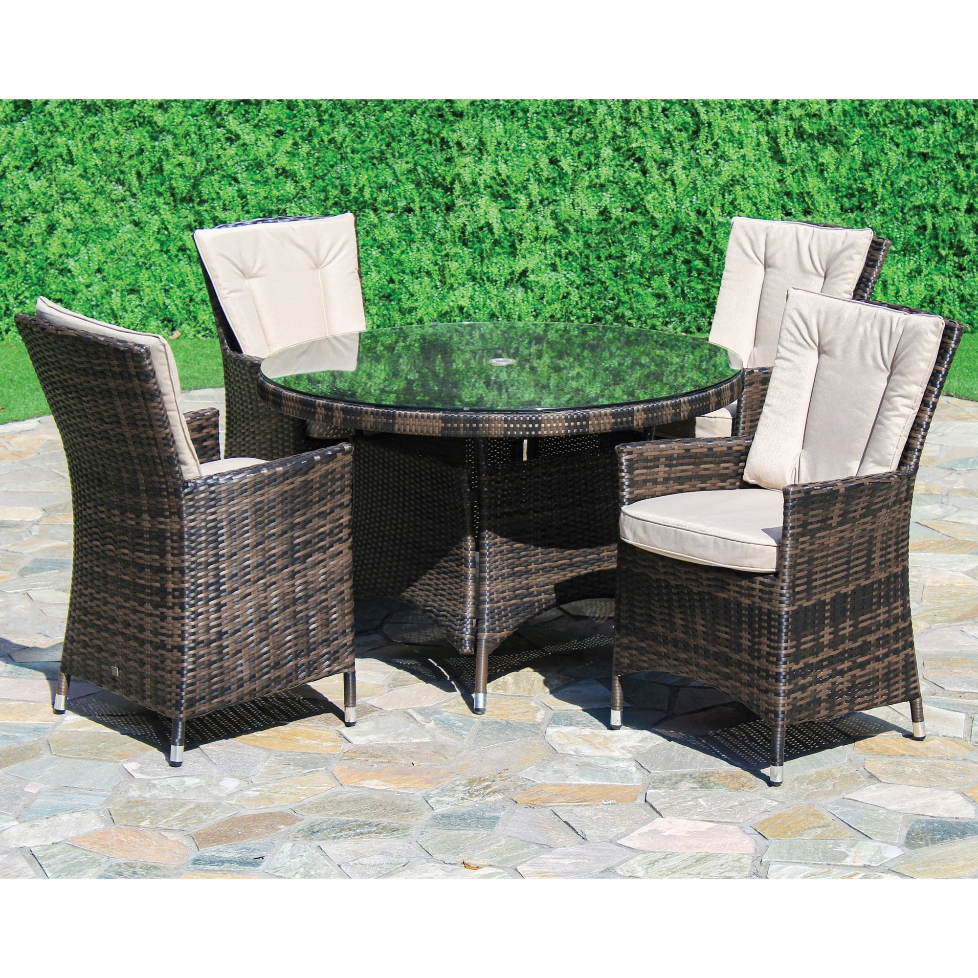 Maze Rattan Lagos Brown Garden Table and 6 Chairs