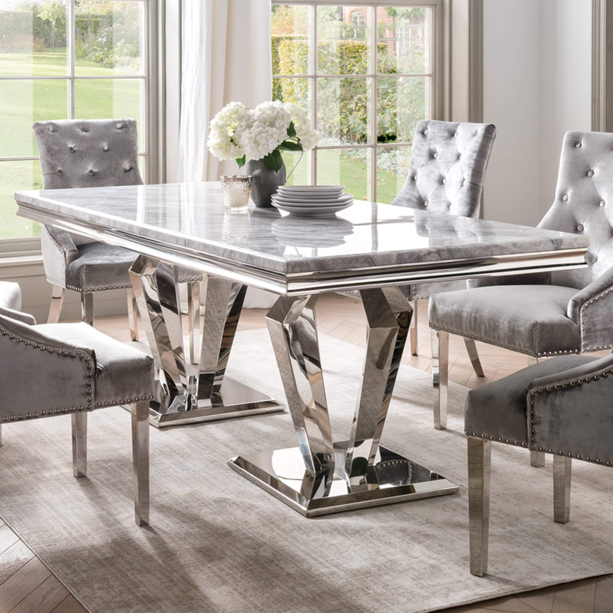 Paradox 9cm Grey Marble Dining Table