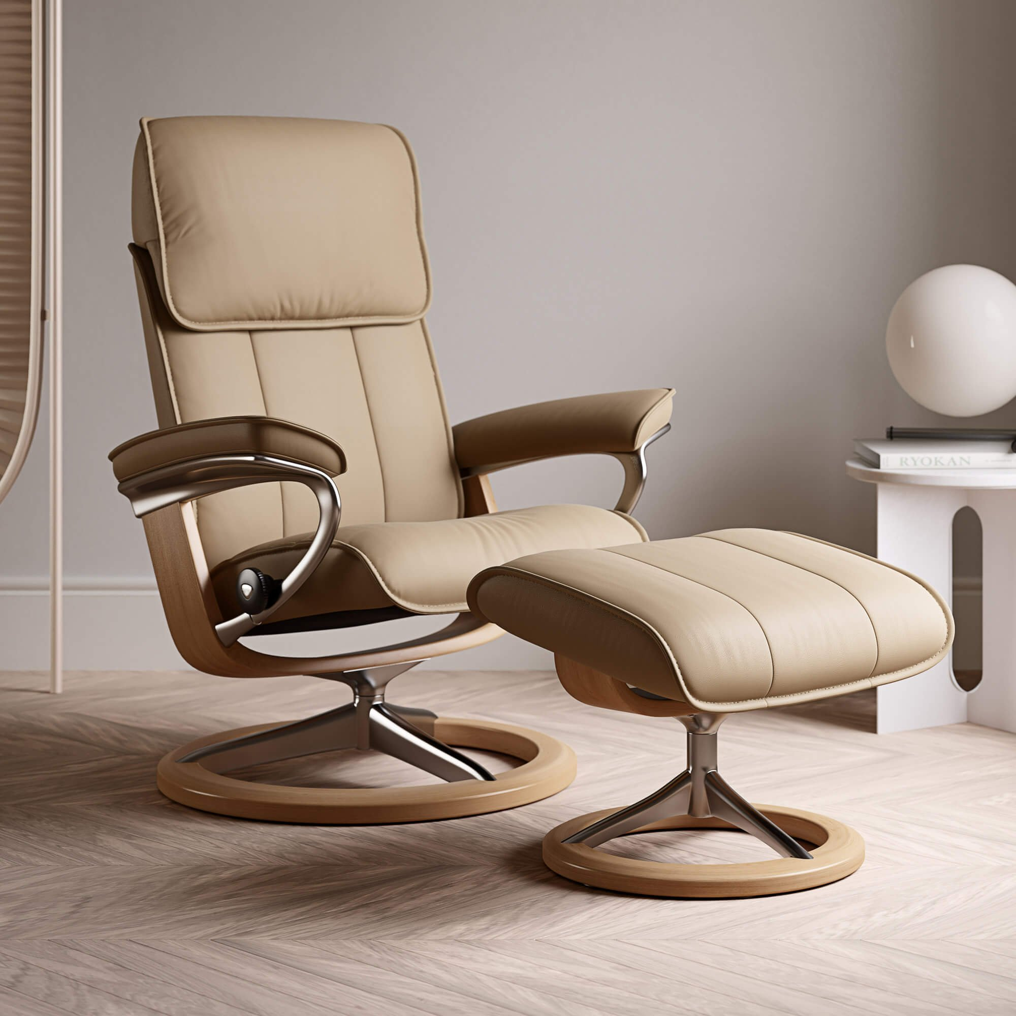 Stressless Admiral Medium Recliner Chair & Stool With Signature Base In Paloma Sand & Oak