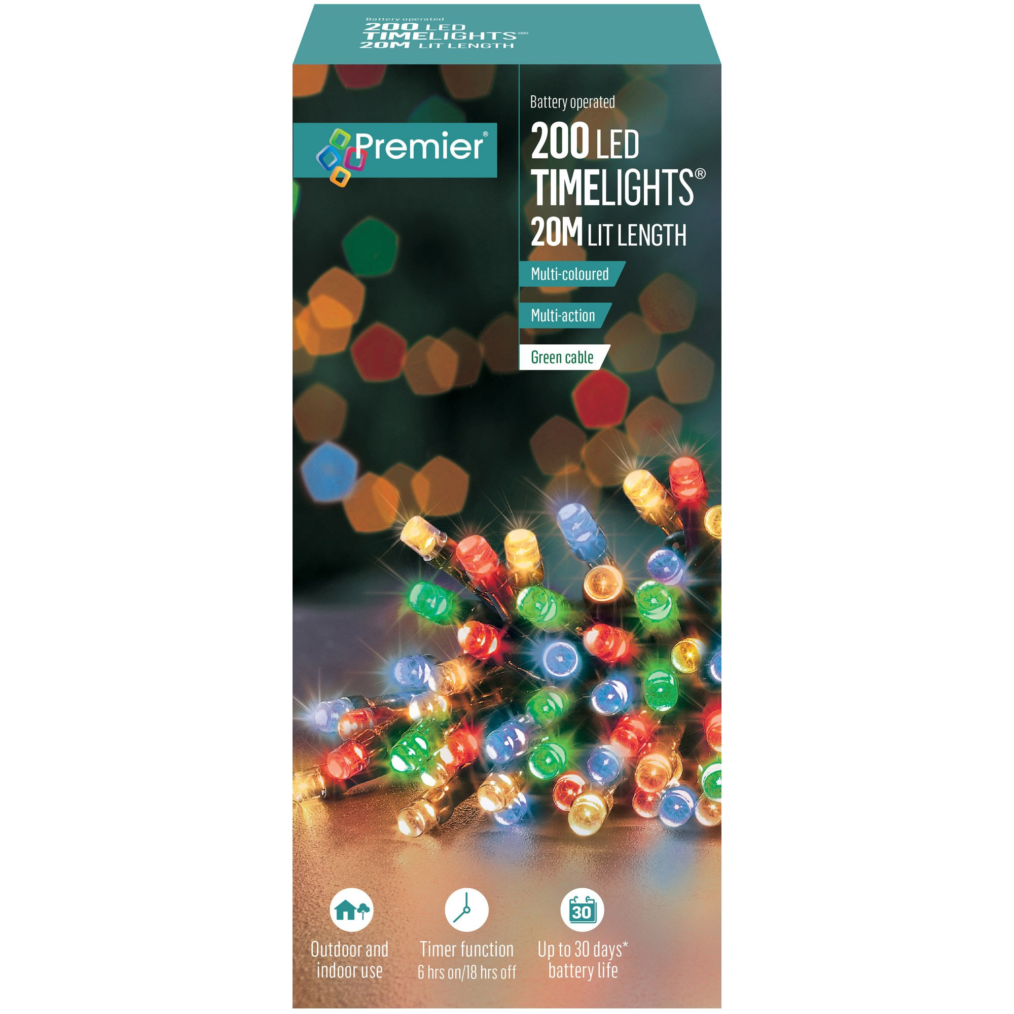 200 Multi Action Multicoloured Battery Operated Led Christmas Lights