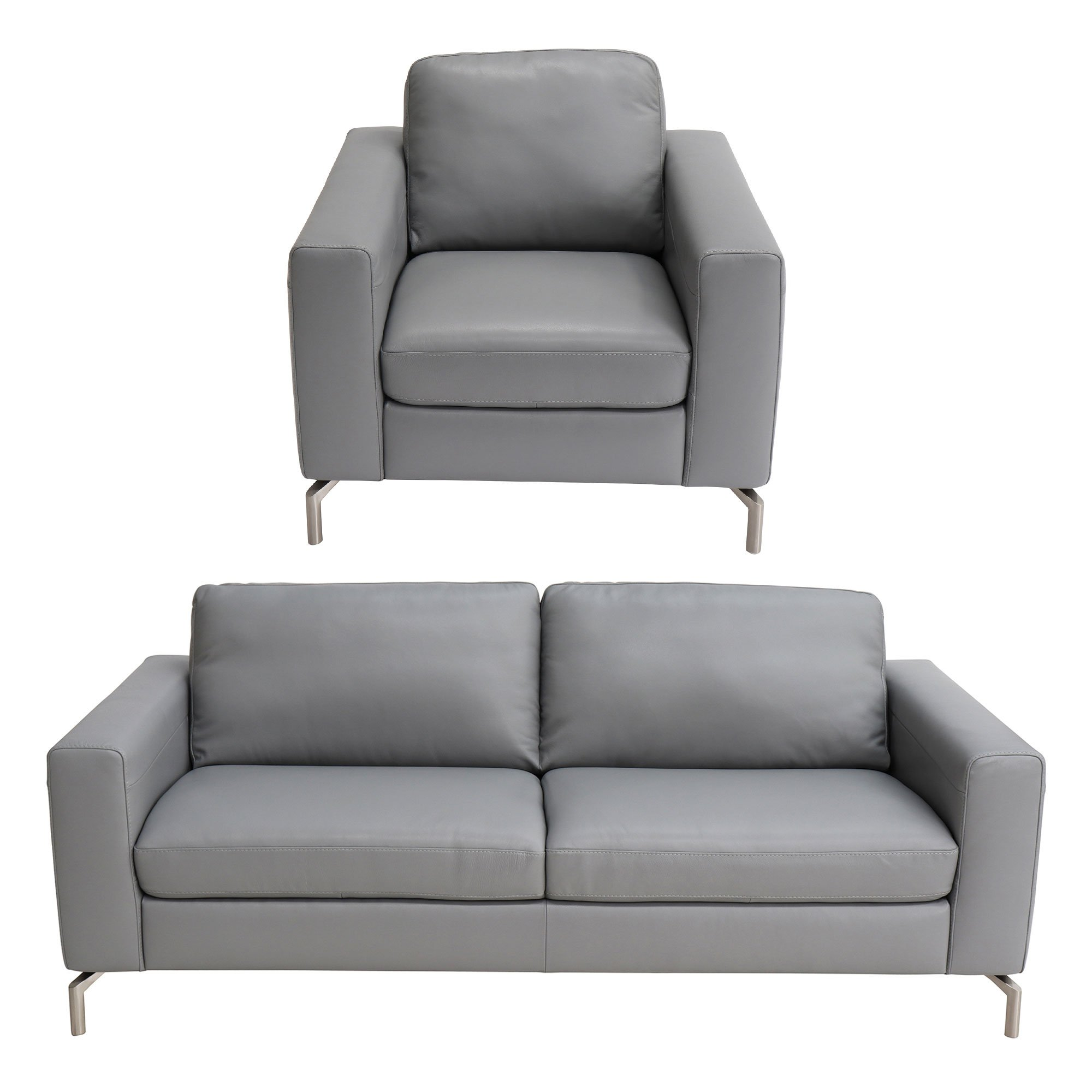 Picture of: Natuzzi Editions Milano Grey Leather 3 Seater Sofa Armchair
