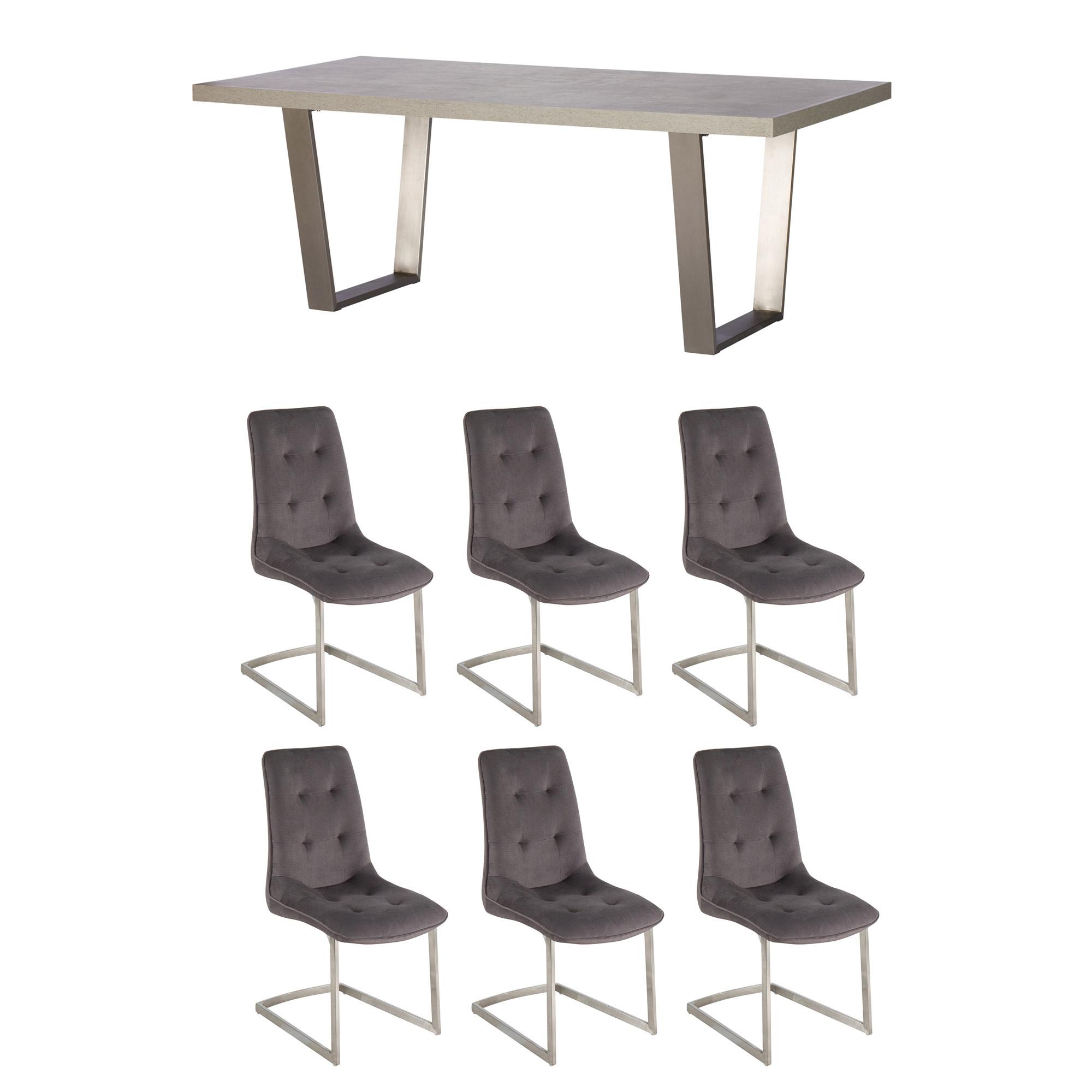 Caspian 200cm Dining Table 6 Avanti Grey Chairs