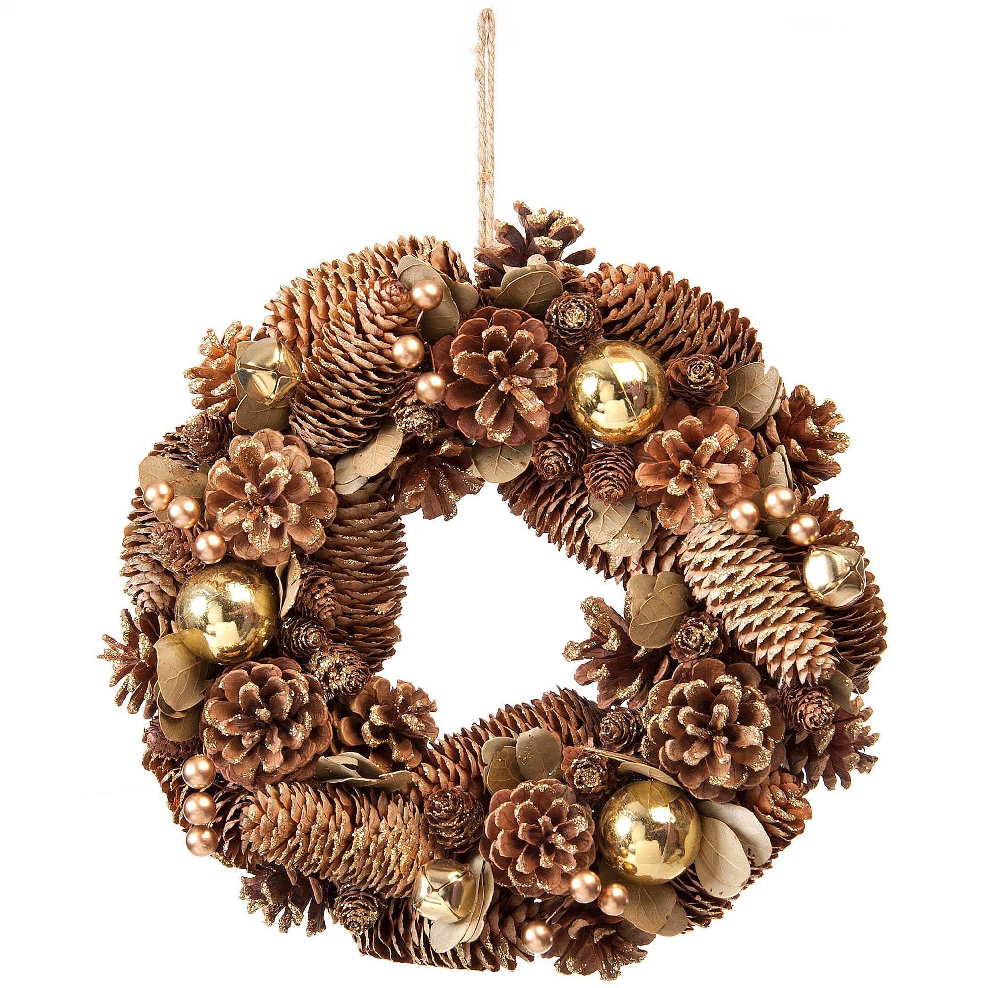 30cm Gold Pinecone Christmas Wreath With Berries