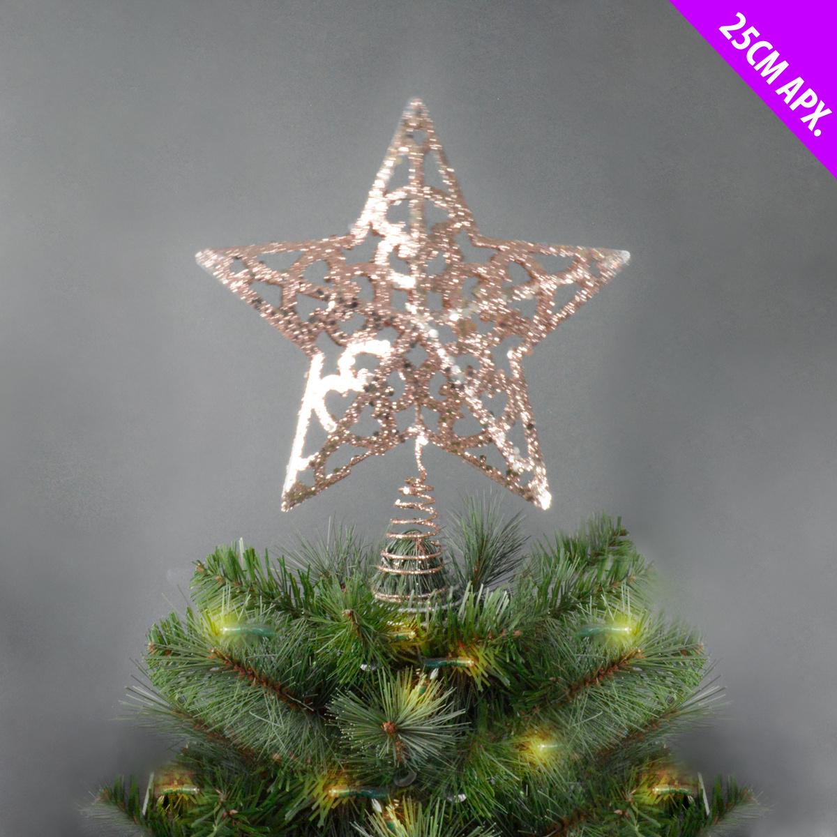 Rose Gold Glitter Star Christmas Tree Topper