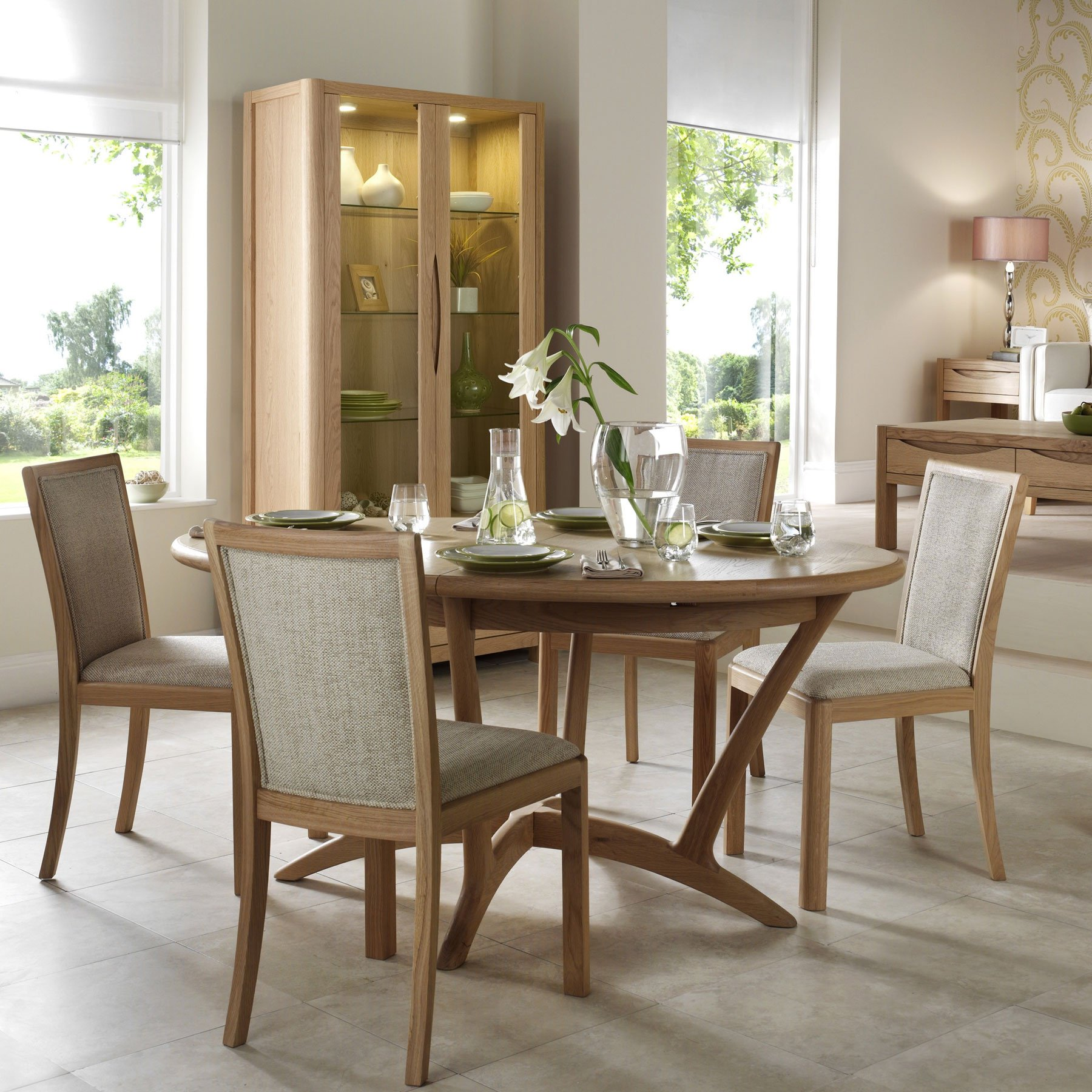 Oslo Light Oak Oval Extending 210cm Dining Table & 4 Fabric Chairs