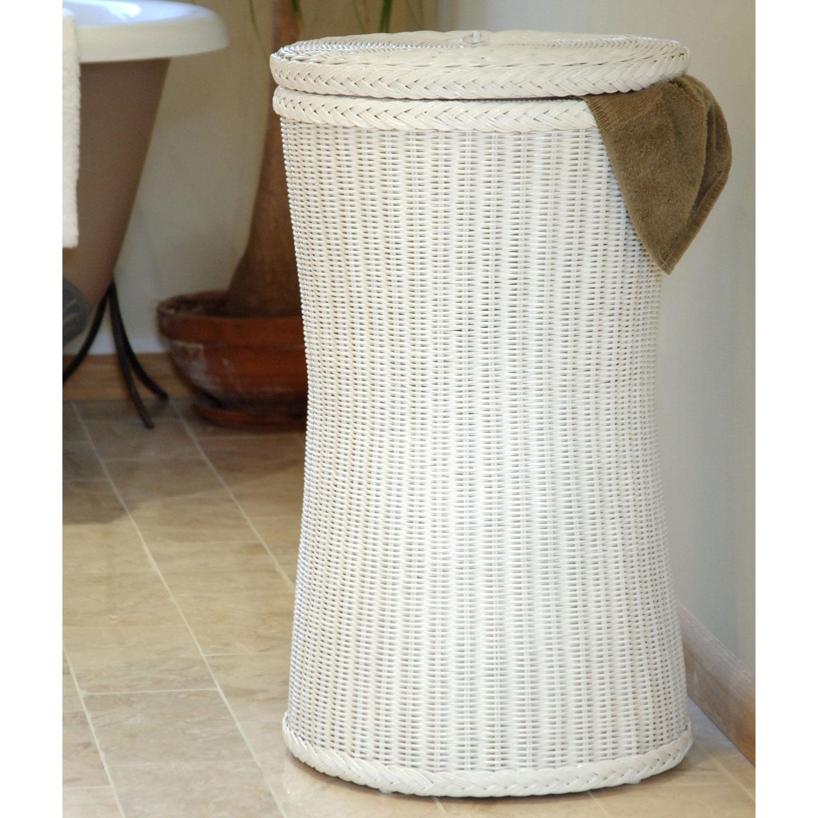 Tall White Wicker Linen Basket