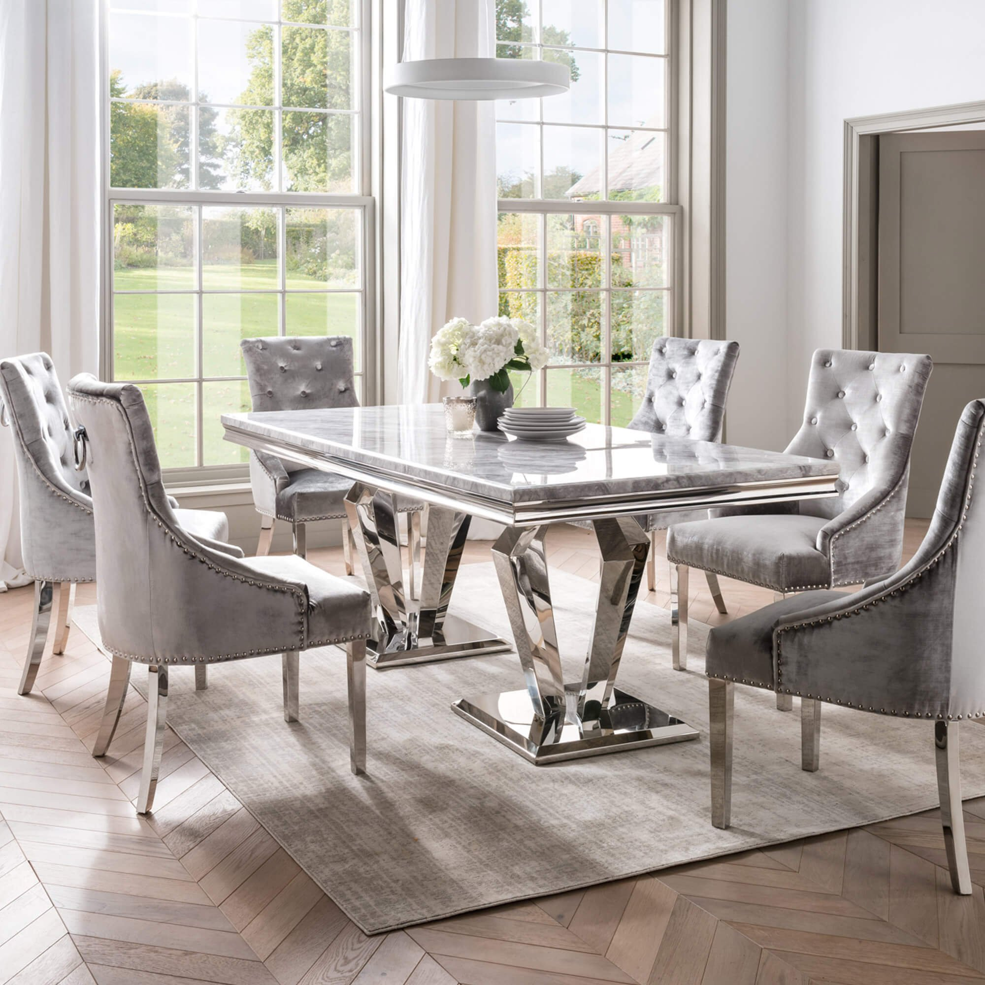 Paradox 180cm Grey Marble Dining Table 6 Parker Grey Dining Chairs