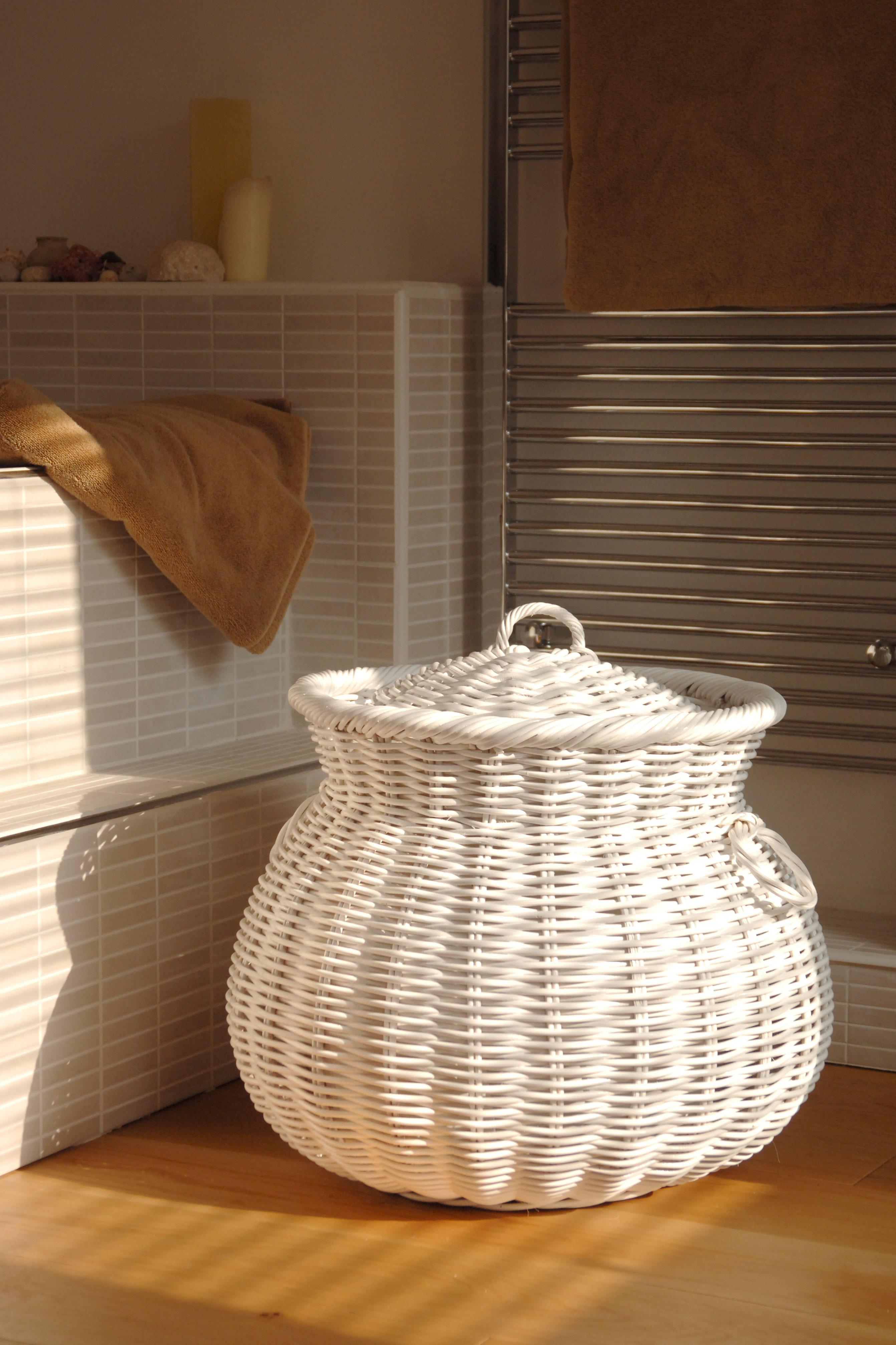 Ali Baba White Wicker Linen Basket
