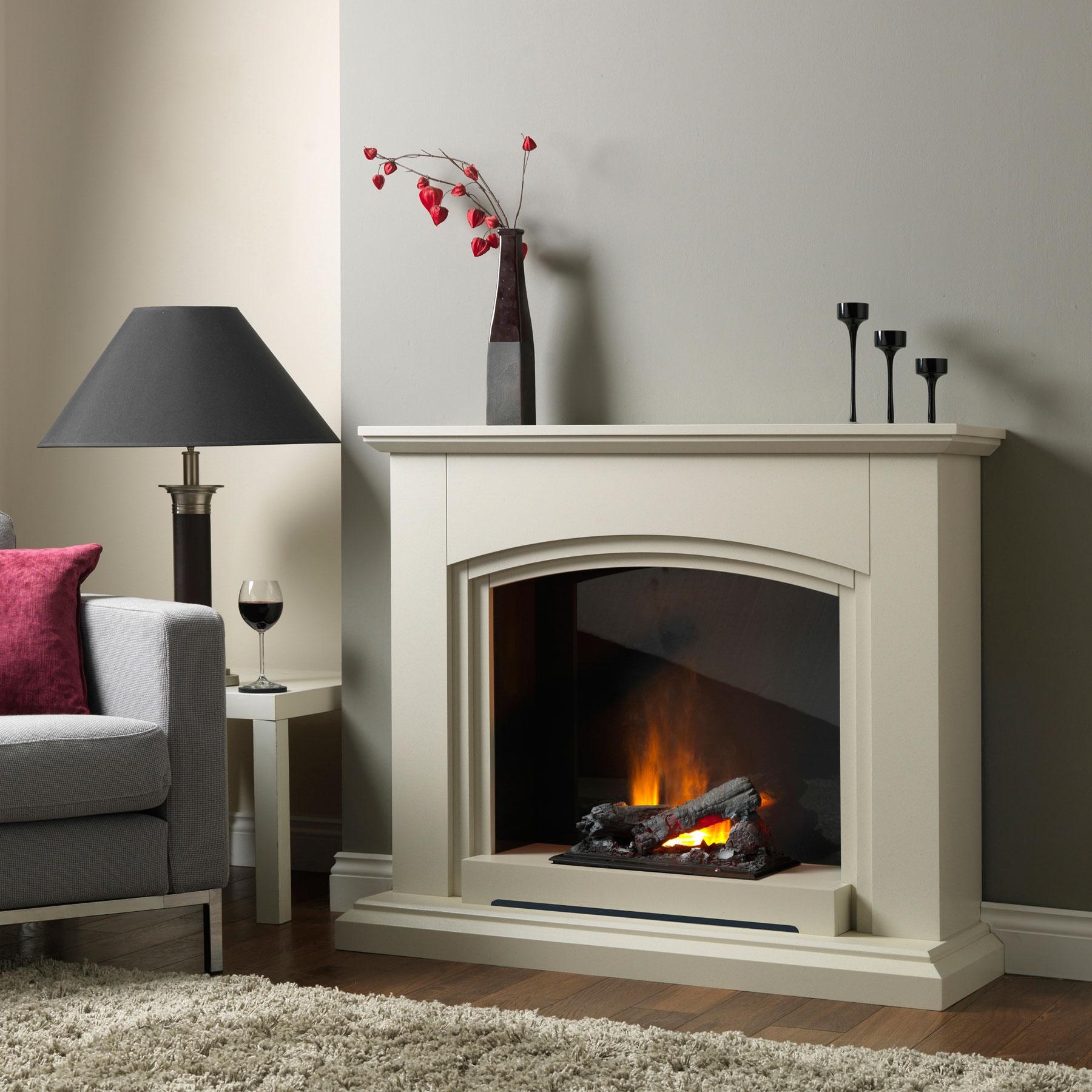 Siena Sandstone Electric Fireplace Suite