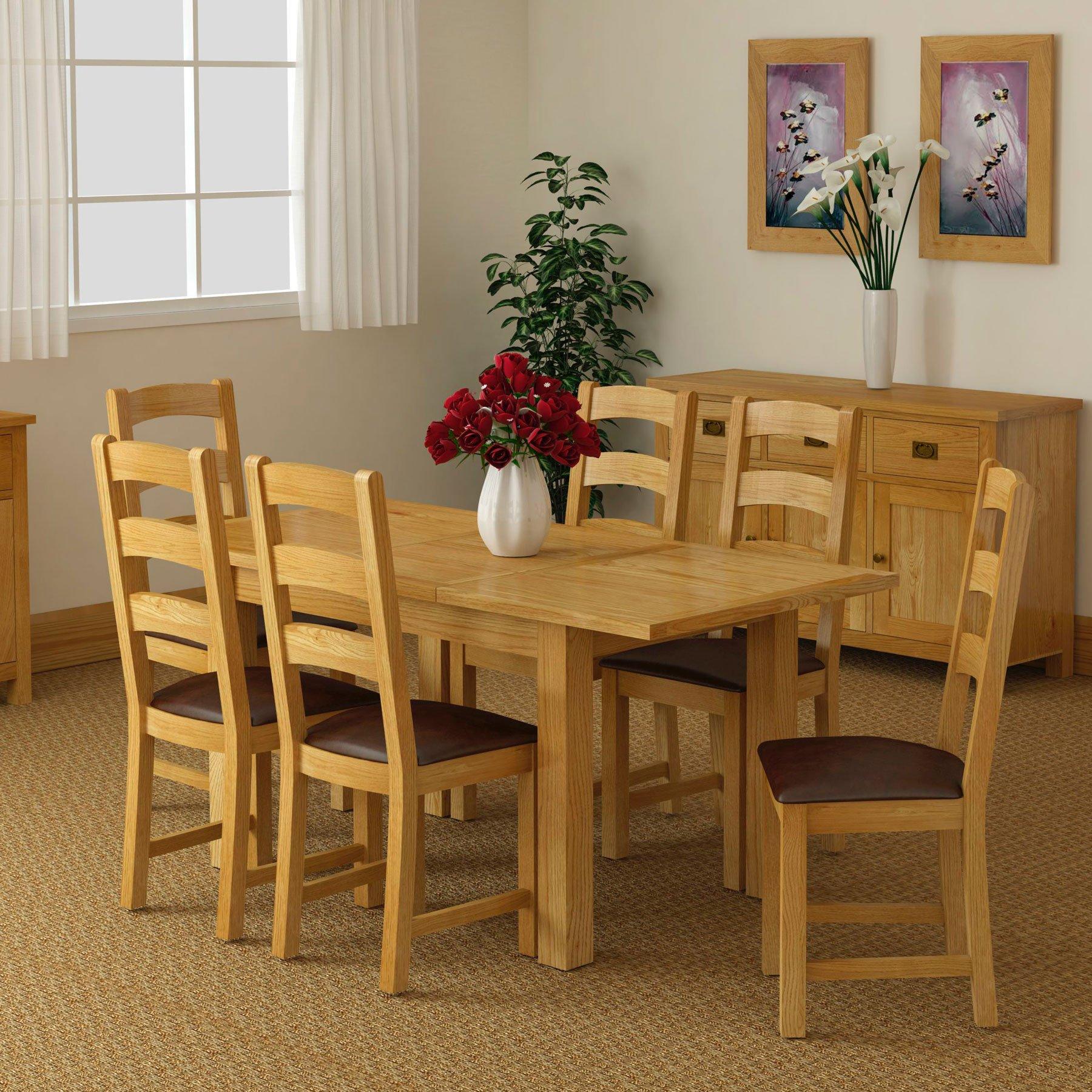 Dorset Light Oak Extending Dining Table 4 Chairs