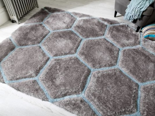 Verge Honeycomb Grey and Duck Egg 120cm x 170cm Rug