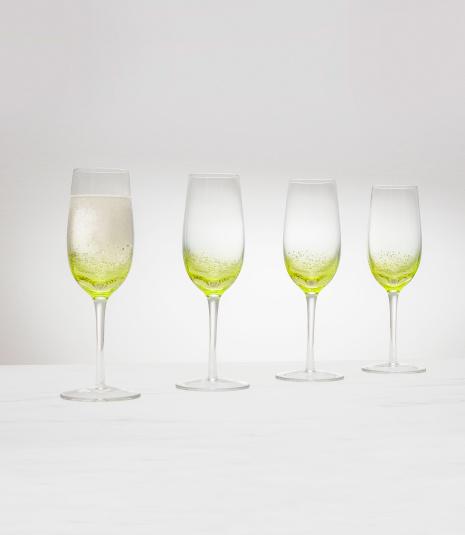 Set of 4 Green Bubble Flutes