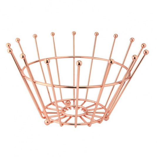 Rose Gold Effect Wire Round Fruit Bowl