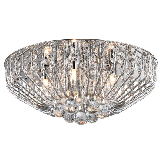 Carlo Crystal & Chrome 5 Light Flush Ceiling Light