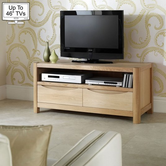"""Oslo Light Oak TV Stand with Two Drawers for up to 46"""" TVs"""