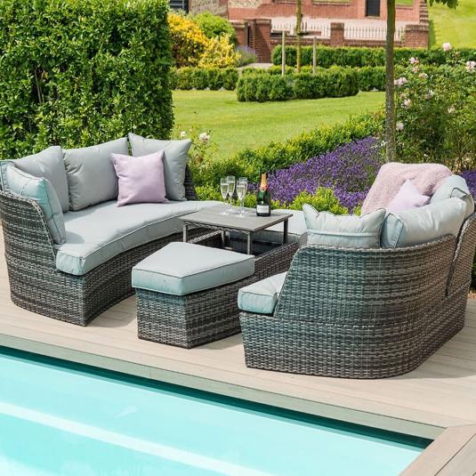 Maze Rattan Lagos Grey Boat Garden Sofa Daybed - Separated