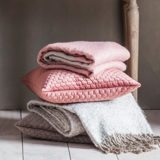 Gallery Direct Honeycomb Blush Quilted Cushion