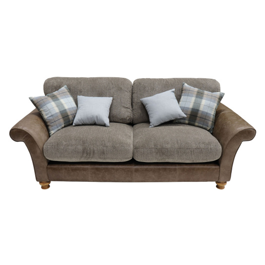 Holbeck Brown Leather & Fabric 3 Seater Sofa