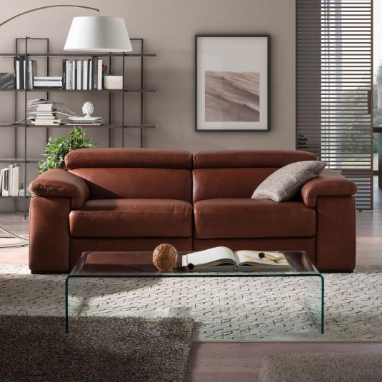 Natuzzi Editions Solare Tan Leather 3 Seater Recliner Sofa