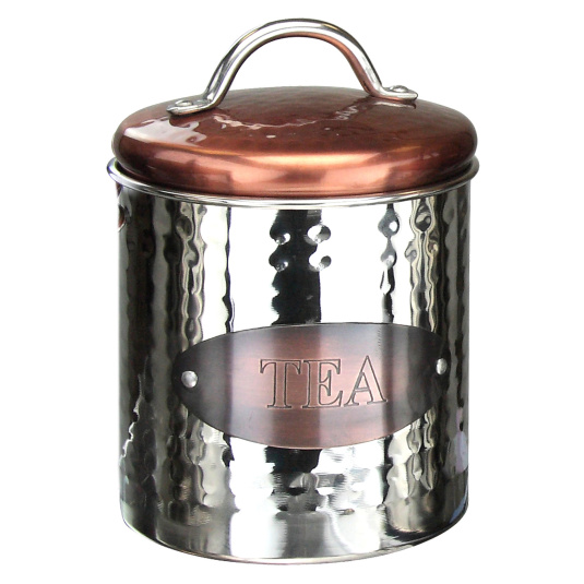 Hammered Steel and Copper Tea Store Jar