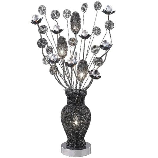 Nevada Black Chrome Crystal Table Lamp