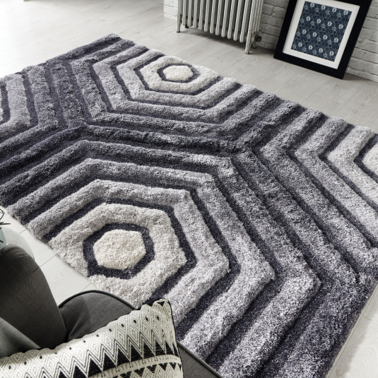 Verge Hexagon Grey 120cm x 170cm Rug