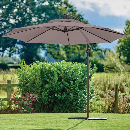 Supremo Riviera 300cm Crank & Tilt Free Arm Taupe Garden Parasol | Housing Units