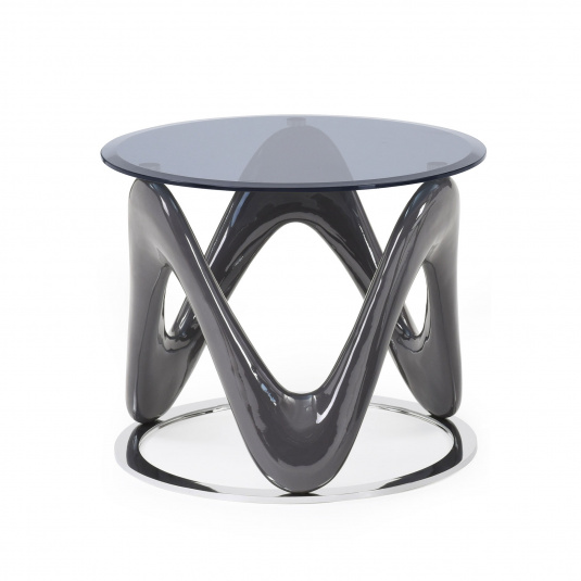 Wave Round Glass Grey Side Table