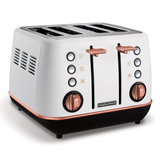 Morphy Richards Evoke Rose Gold & White 4 Slice Toaster