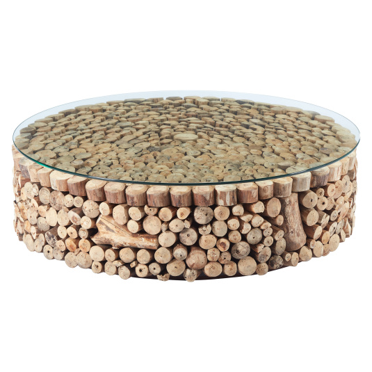 Newport Driftwood and Glass Coffee Table - Front