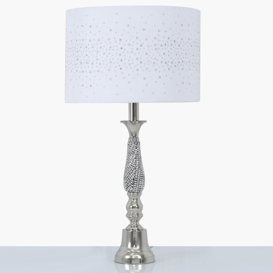 Nickel and Diamante Swirl Table Lamp with White Velvet Sparkle Shade