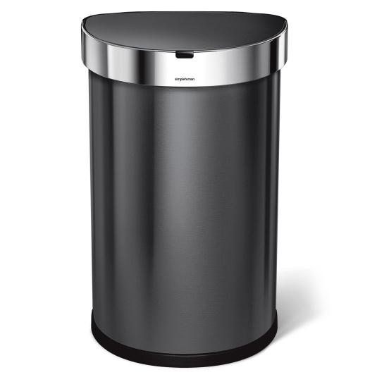 Simplehuman 45 Litre Black Semi Round Sensor Bin