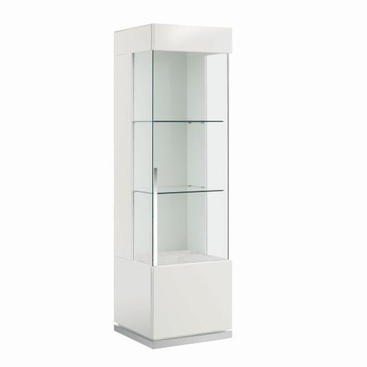 Torino White High Gloss Right Hand Single Door Display Cabinet