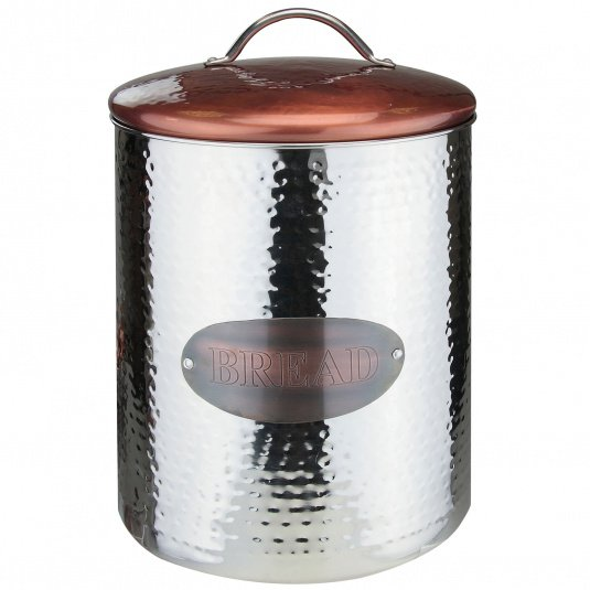 Hammered Steel and Copper Bread Crock