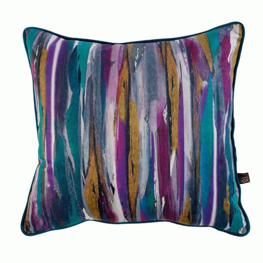Painterley Stripe Teal Cushion
