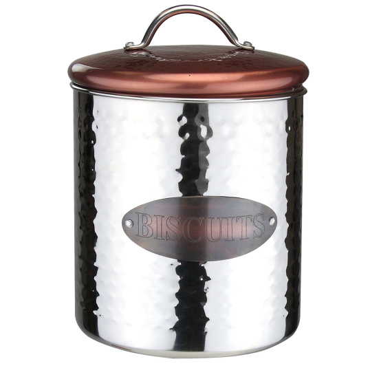 Hammered Steel and Copper Biscuit Store Jar